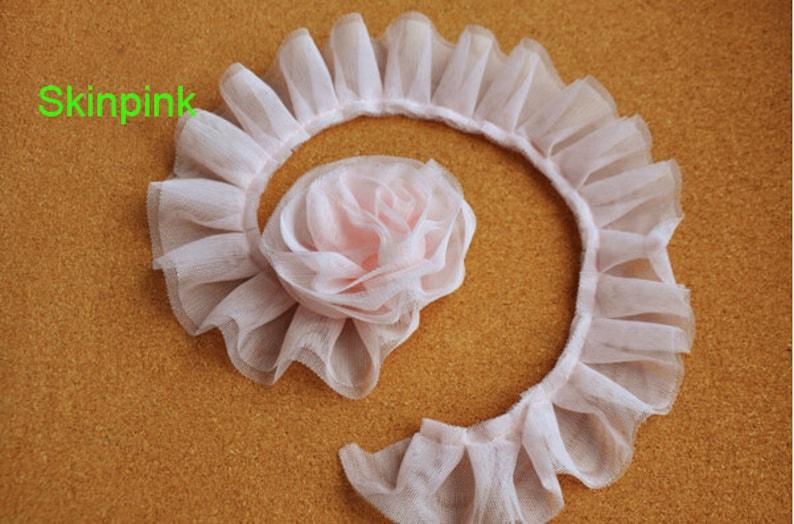 20 yardslot width 5cm 1.96 pink ruffled double layer mesh lace trim ribbon fabric for dressskirt clothing L5K1086 HB15050502 free ship