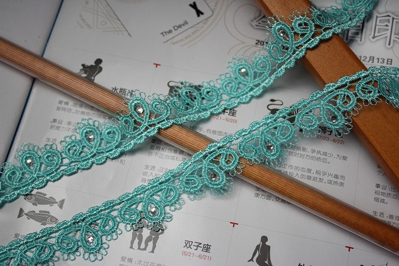 14 meter 2.3cm 0.9 wide blue-greengraypinkpurpleyellow crystal stones lace trim ribbon L11D119SN1 free ship