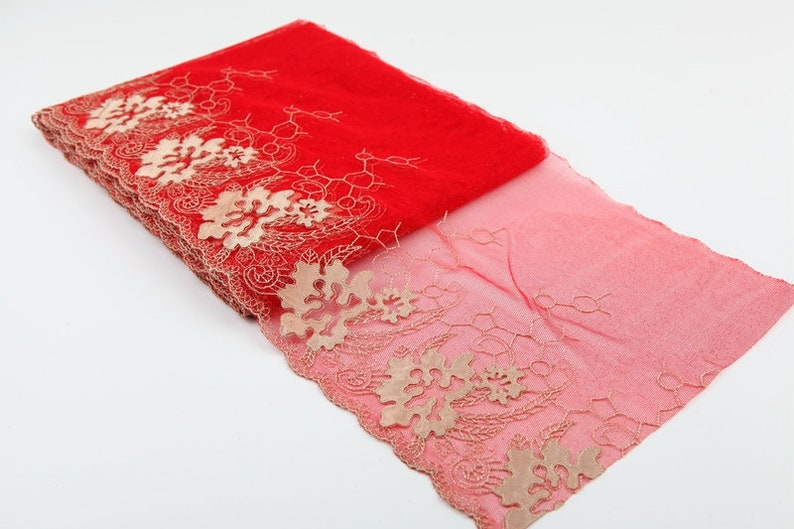 5 Yard Red  Mesh Embroidery Lace Trim Ribbon DIY Sewing Fabric Clothes Garment 23cm 9 Wide S19C4 Free Ship