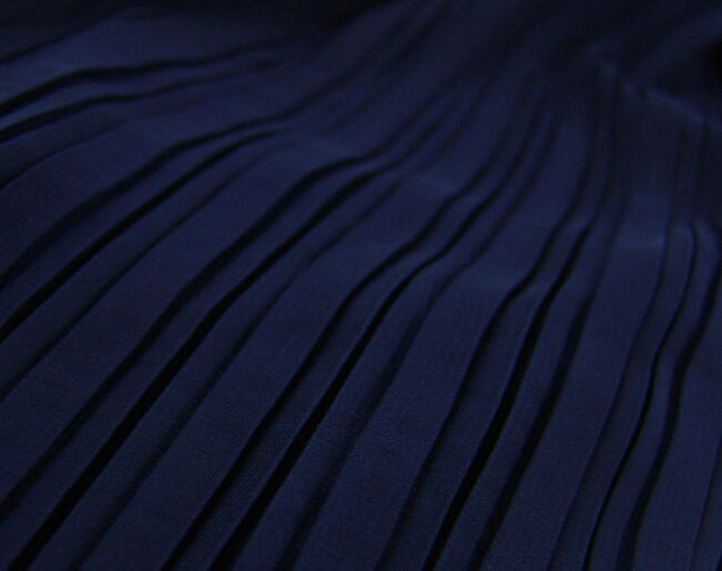 2 meters 150cm 59 width dark blue crumple accordion pleated chiffon fabric wedding dress skirt clothes materials MM128 Free Ship