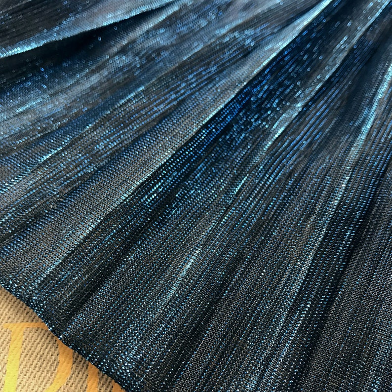 2 meters 150cm 59 width blue shiny pleated accordion mesh tulle fabric dress clothes materials MM448 free ship