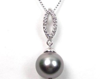 10-11mm Authentic Round Tahitian Pearl 925 Silver Pendant SFP303885STA