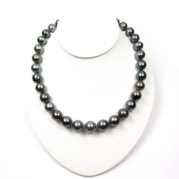 10mm Rare Handmade Pure Black Freshwater Cultured Agate Necklace 18/'/' AAA+