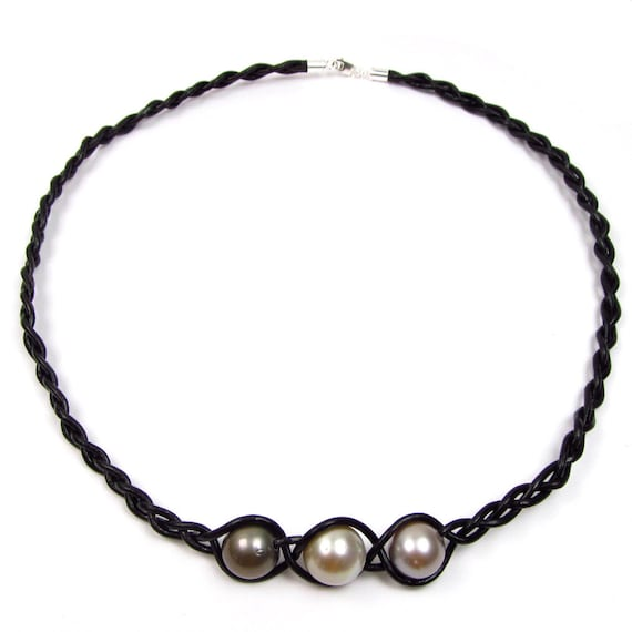 "7.5/"" 11-12mm Tahitian Black Pearl Genuine Leather Cord Bracelet"