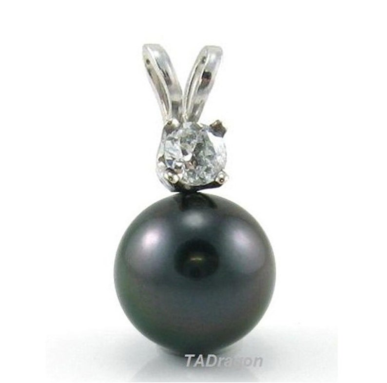 14K Gold 10-11mm Tahitian Black Pearl Pendant with 0.1ct Genuine Diamond STP61120YTA-01