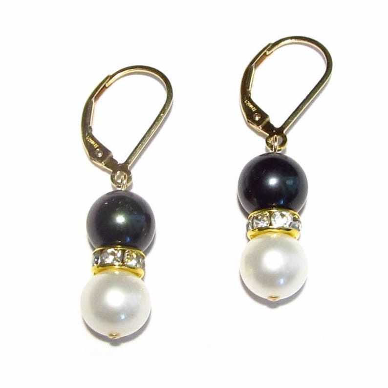 Jewelry & Watches 8-8.5mm AAA Cultured Black Pearl Lever Back Earrings 14K Yellow Gold Filled