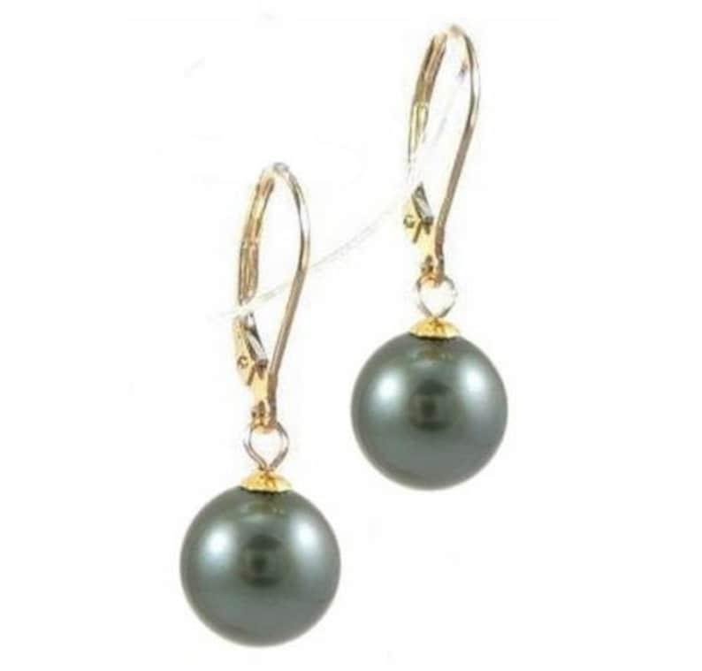14K Gold 9-10mm Top Quality Round Tahitian Black Pearl Lever Back Earrings PEL0091YTA97