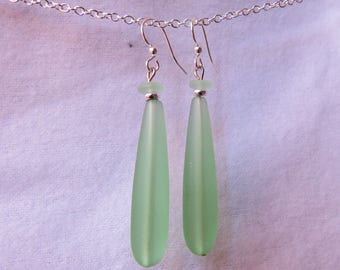 Long green sea glass dangls earring