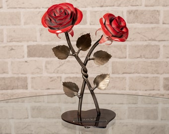 large-Color Steel Rose-Handmade Metal Roses