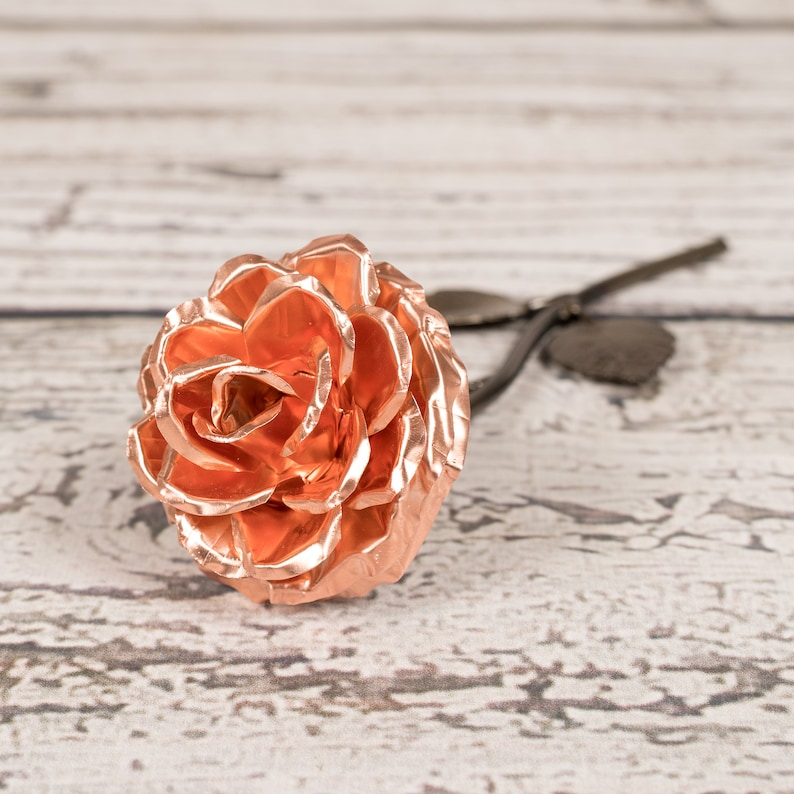 Copper Rose  7th Anniversary Personalized Wedding Gift No base