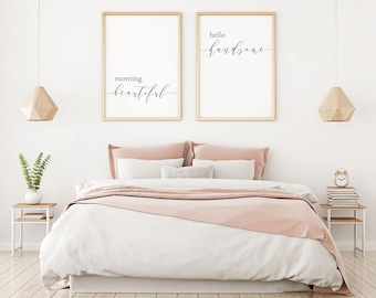 Printable Art Morning Beautiful Hello Handsome Matching Prints Large Above Bed