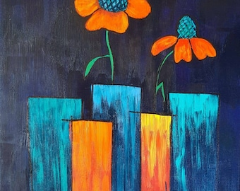 Vases - night blue - modern art - abstract