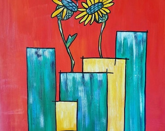 Vases - red - modern art - abstract