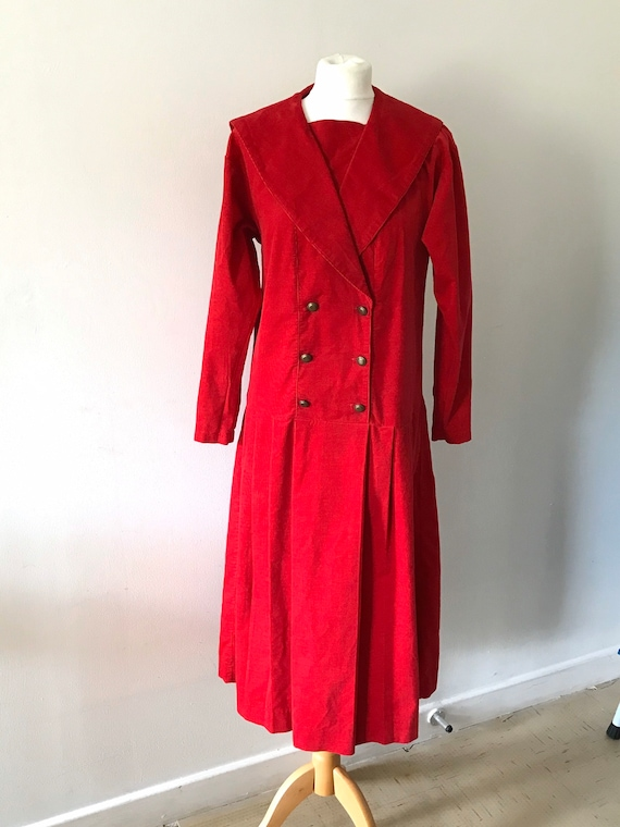 Laura Ashley  vintage red cord sailor dress long s