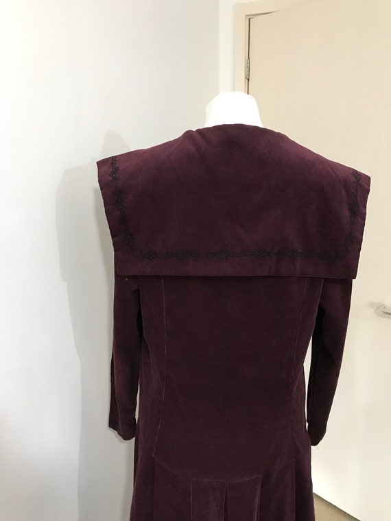 Laura Ashley Maroon Cord Sailor Collar 80s Long S… - image 5