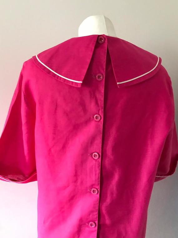 Laura Ashley vintage 80s pink sailor dress linen … - image 6