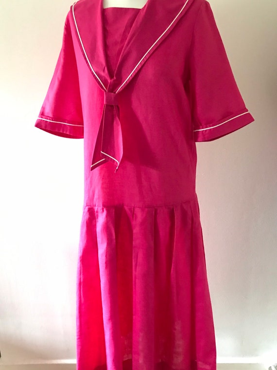 Laura Ashley vintage 80s pink sailor dress linen /