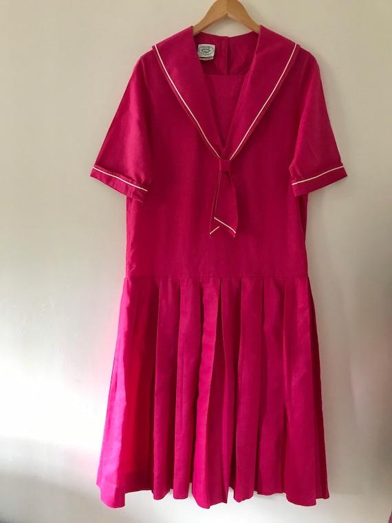Laura Ashley vintage 80s pink sailor dress linen … - image 3