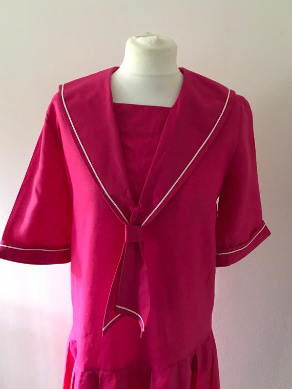 Laura Ashley vintage 80s pink sailor dress linen … - image 4