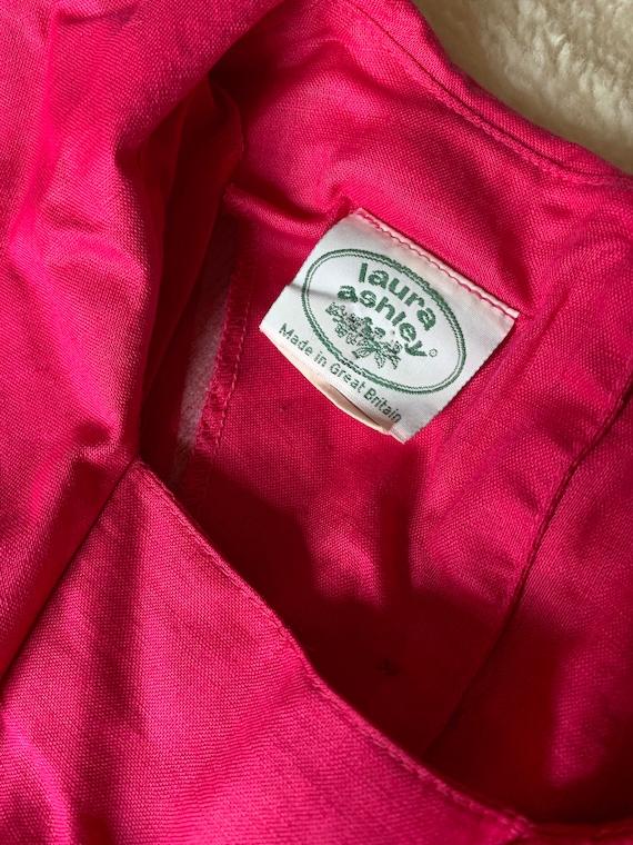 Laura Ashley vintage 80s pink sailor dress linen … - image 9