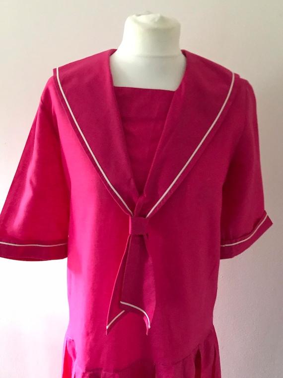 Laura Ashley vintage 80s pink sailor dress linen … - image 7