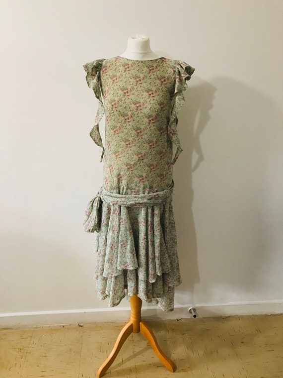 Droopy & Browns 20s style flapper dress 1980s flor