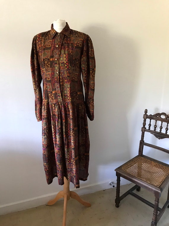 Phool vintage 80s multicoloured long sleeve dress