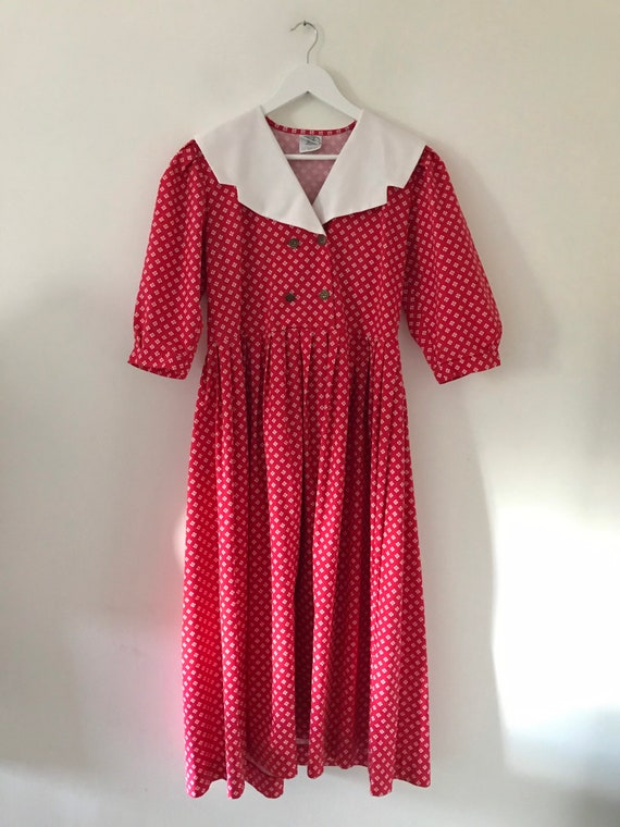 Laura Ashley vintage 80s red patterned dress white