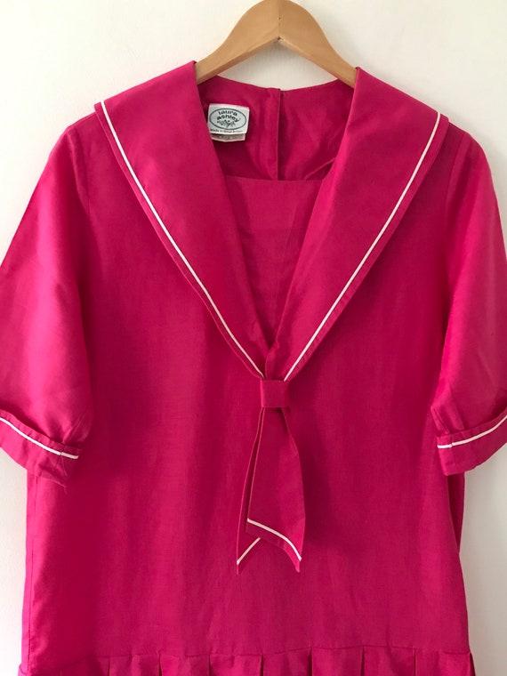Laura Ashley vintage 80s pink sailor dress linen … - image 5
