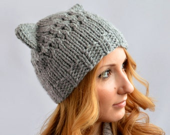 d5bc72ef Gray Cat Hat, Knit Cat Ear Hat or Cat Beanie, Womens Cat Hat