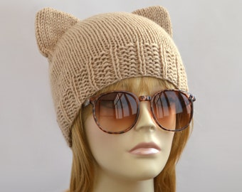 Beige Cat Hat, Knit Cat Ear Hat or Cat Beanie, Womens Cat Hat