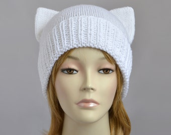 Fairy Kei Cat Hat Knit Cat Ear Hat White Cat Beanie Womens Cat Hat Fairy Kei Beanie Disney Ears Hat Cat Ear Beanie Bonnet Femme Womens Hats