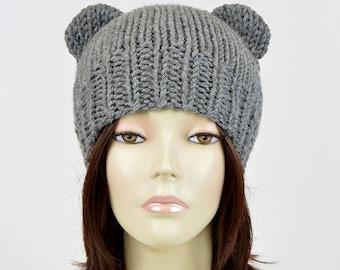 Bear Beanie Bear Ear Beanie Womens Bear Hat Mickey Mouse Knitted Bear Hat  Bear Ears Hat Hnit Hat Mütze Bär Ours Bonnet Femme Animal Ear 0659c2d4aec