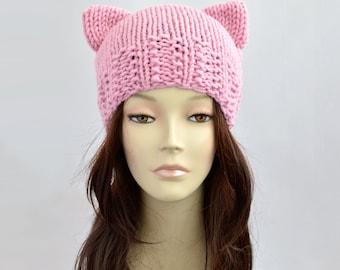 Fairy Kei Cat Hat, Cat Ear, Cat Ear Hat, Womens Cat Beanie, Cat Ear Beanie, Knit Hat, Ears Hat, Knitted Hat, Fairy Kei Hat with Cat Ear