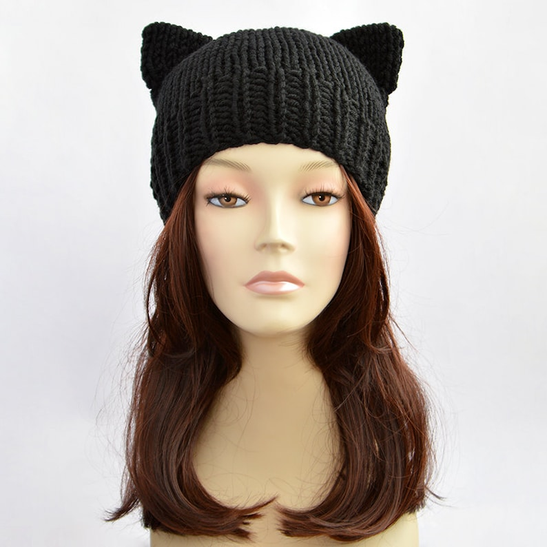 Black Cat Hat Cat Ears Cat Ear Hat Womens Cat Beanie Cat  852c8b464c