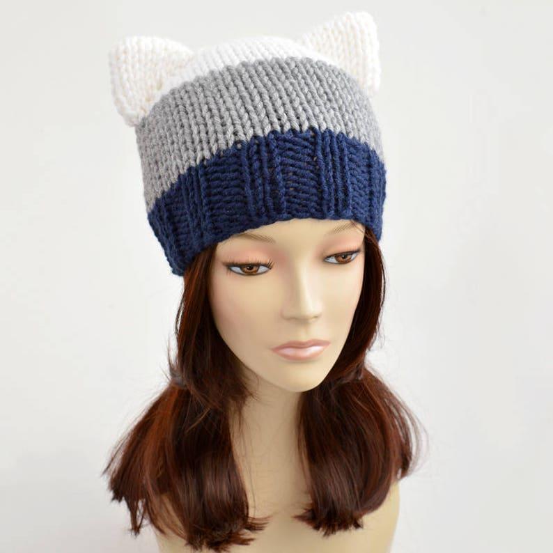 f60272dd9 Tira gato sombrero gorrita tejida de oreja de gato tira