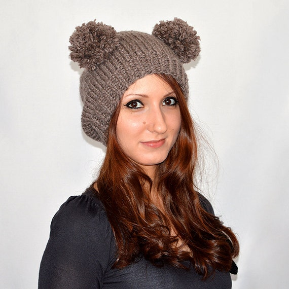 13410d30b1d Bear Hat Knit Bear Ear Hat or Bear Beanie Womens Bear Hat