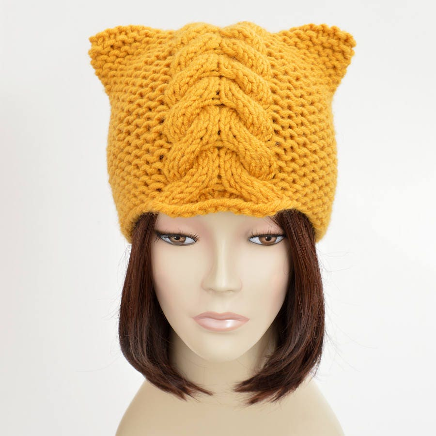 Cat Ear Hat Knitting Pattern Simple Design