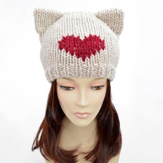 Cat Hat Knitting Pattern Heart Hat Womens Knit Hat Pattern Etsy