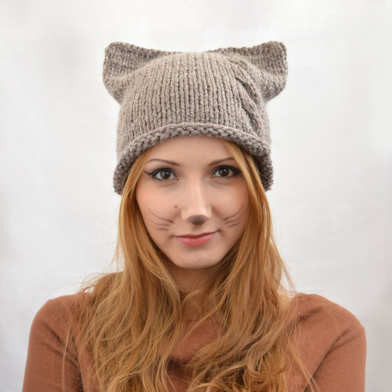 Handmade Knit Square Cat Ear Hat Hat with Braid Cat Beanie  6e2582d0291a