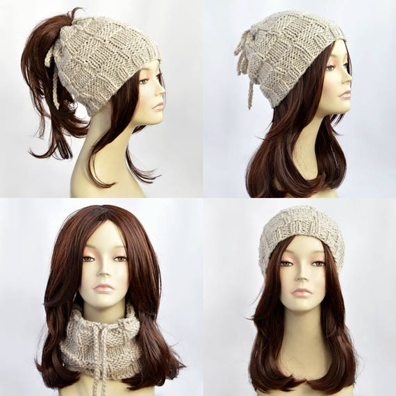 Hat Knitting Pattern    Ponytail Hat Pattern Ponytail Beanie  c024a5026e5