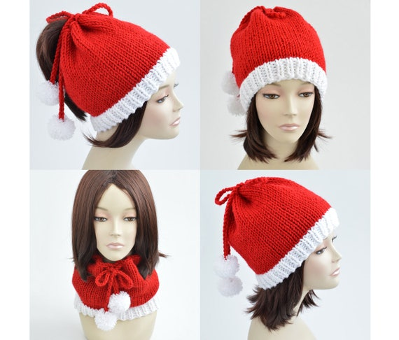 d7532222d56 Christmas Hat Knitting Pattern    Ponytail Hat Pattern Scarf