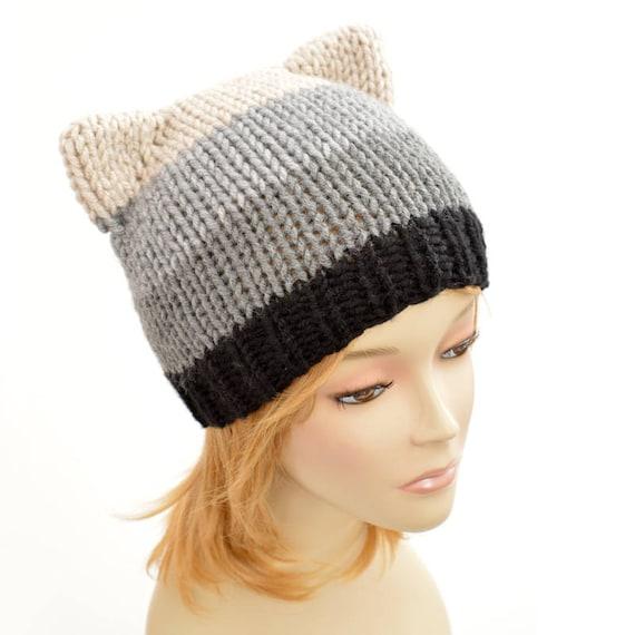Cat Hat Knitting Pattern Strip Hat Womens Knit Hat Pattern Etsy