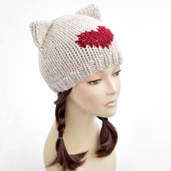 Cat Hat Knitting Pattern  Heart Hat Womens Knit Hat Pattern PDF Cat Ear Beanie Cat Ears Ear Hat Cat Hat Pattern Cat Beanie Bonnet Femme