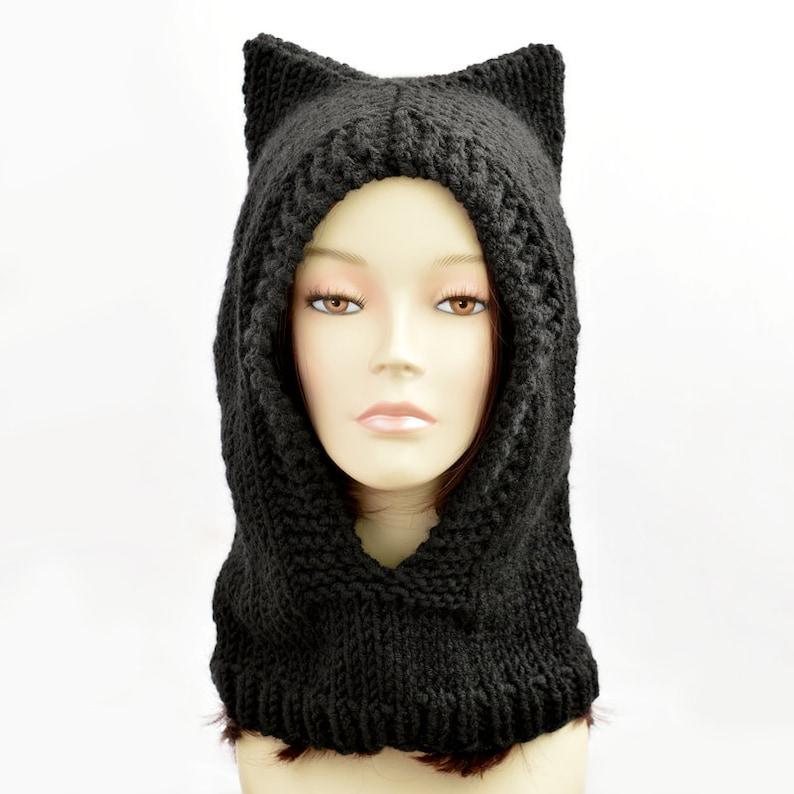 c0fcb50a7826d Gorrita tejida de oreja de gato sombrero campana sombrero