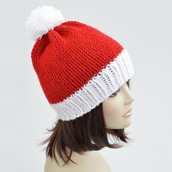 Christmas Hat Knitting Pattern Pdf Santa Hat Pattern Pom Etsy