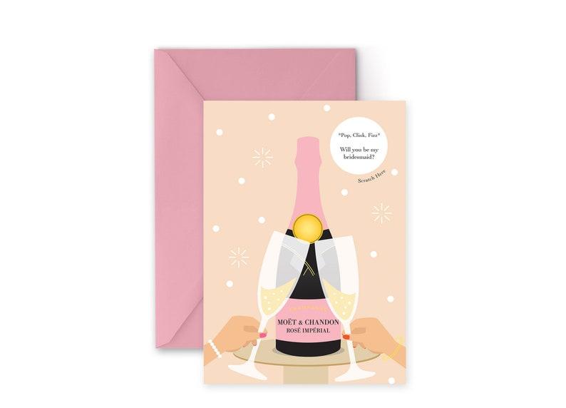 Bridal Party Champagne Pop Bottle Scratch Sticker Card image 0
