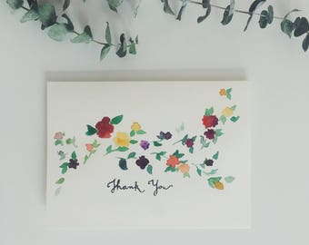 Set of 5 Floral Thank You Greeting Cards