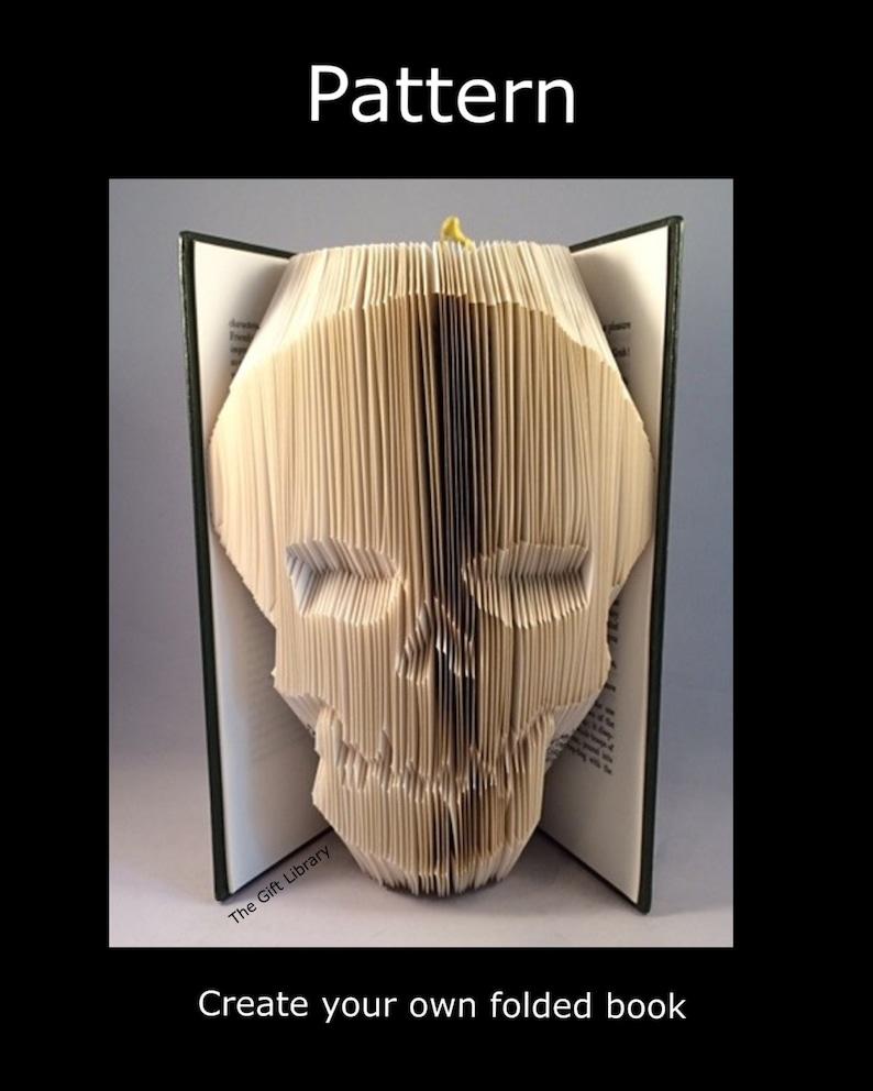 Skull  Book Folding PATTERNFolded Book art Patterns PATTERN image 1