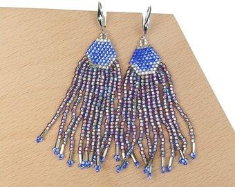 Violet-Blue - Waterfall Beaded Tassel Earrings